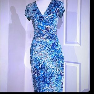 Wrap dress in pretty blue hues